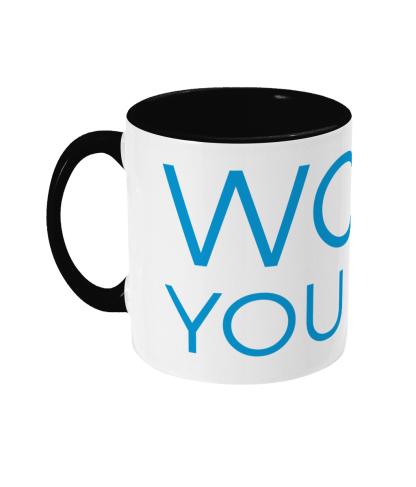 mug woof you dad blue lettering with black handle left