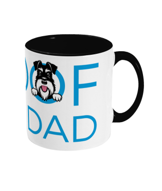 mug woof you dad blue lettering with black handle right