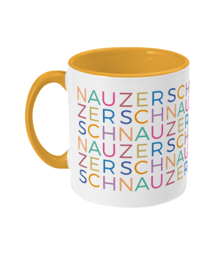 mug multicoloured schnauzer letters on yellow left