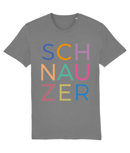 Grey T-shirt multicoloured letters flat on