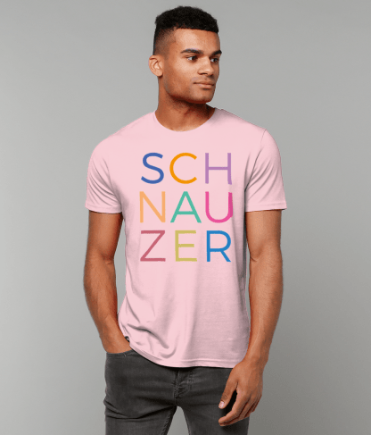 Pink T-shirt multicoloured letters male model 1