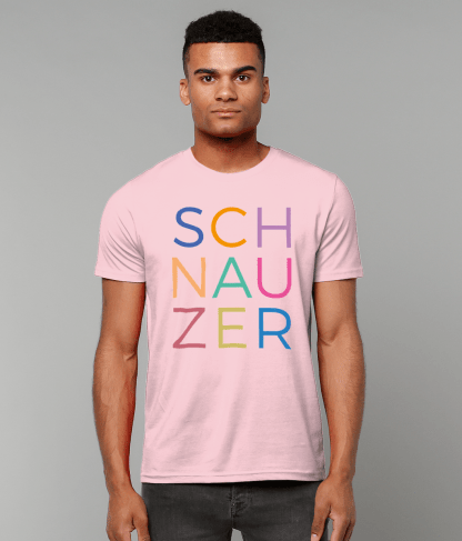 Pink T-shirt multicoloured letters male model 2