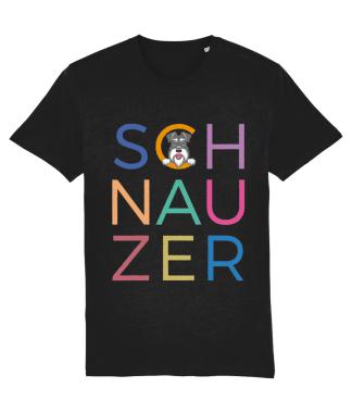 Black T-shirt multicoloured letters salt and pepper dog flat on