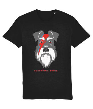black t-shirt salt and pepper dog bowie flash front view