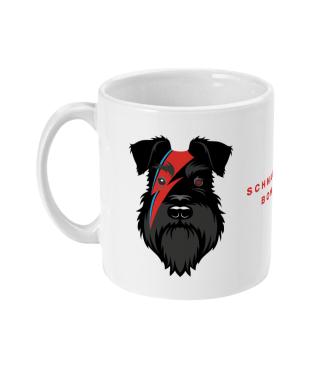 bowie mug all black dog left view