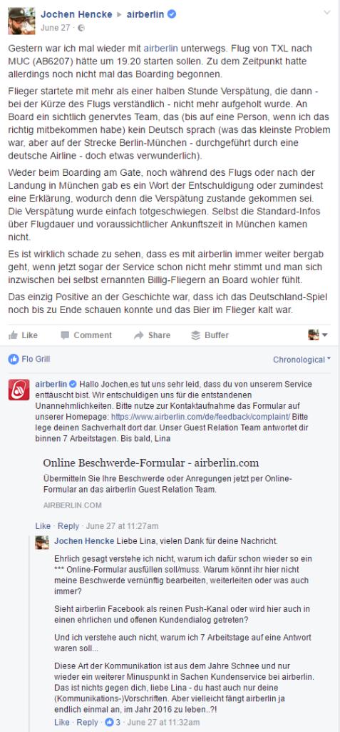 Airberlin Beschwerde Facebook