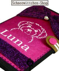 Malteser EU-Heimtierausweis   Hundepasshülle Pink Fliege   Leder Luna