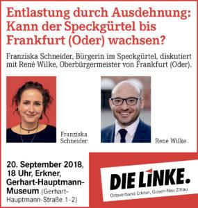 Einladung für Donnerstag: Kann der Speckgürtel bis Frankfurt (Oder) wachsen?