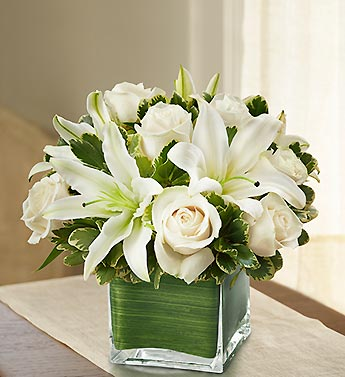 Schneiders Floral Design  Roses and Lilies in Cube 69