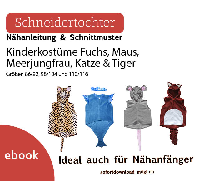 Ebook Kinderkostüm Set Maus Wassermann Tiger Fuchs – Schneidertochter