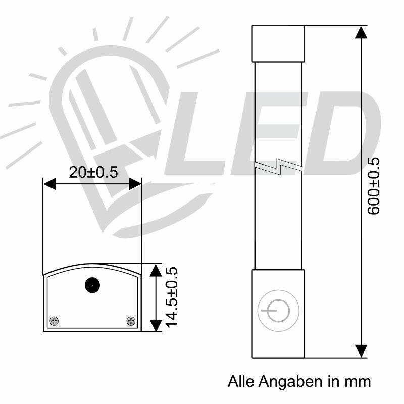 600mm Led Lichtleiste Mit Touchschalter 123 Smd Leds 600 Lumen Kaltwei Ans 39 95