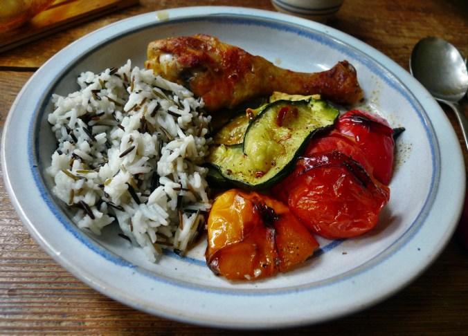 Blechgemüse,Reis,Hähnchenshenkel (16)