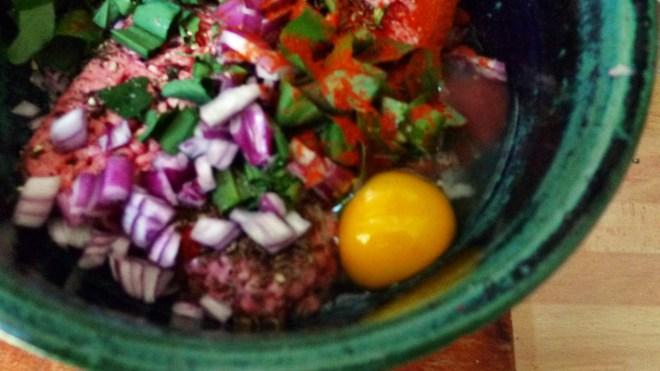 gefüllte Zucchini,Kartoffel,Rhabarberkompott - 30.4.15   (4)