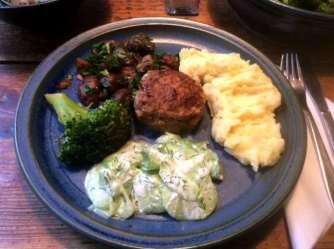 21.2.16 - Frikadellen,Kartoffelpü,Gurkensalat,Brokkoli,Dessert, (17a)