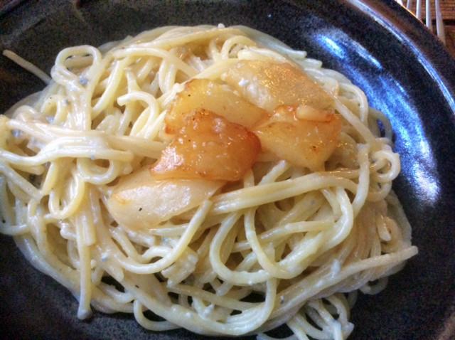 Spaghetti mit Gorgonzolasauce,Chicoree Salat,vegetarisch