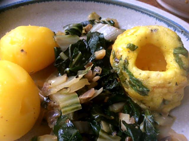 28.3.16 - Mangold,Tassenei,Kartoffeln,Dessert (1a)