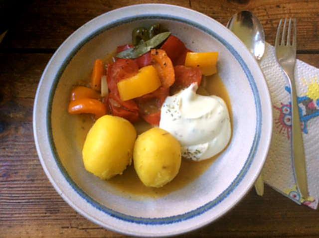 18.4.16 - Paprikapfanne,Joghurtdip,Kartoffeln,vegetarisch (10)
