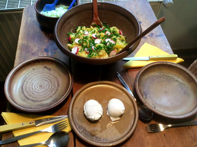 23.4.16 - Kartoffelsalat,pochiertes Ei,Gurkensalat (7)
