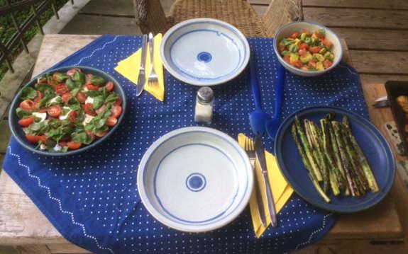 11.6.16 - Grüner Spargel,Ofenkartoffeln,Tomaten,Avocado,vegetarisch (1a)
