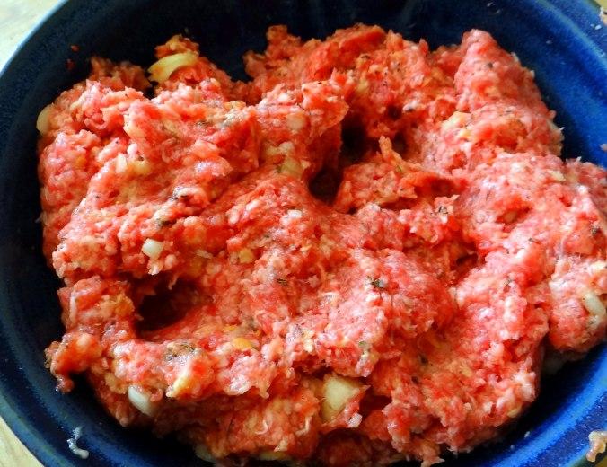 Frikadelle,Champignon,Gurkensalat,Feldsalat,Erdbeeren (6)