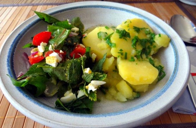 Wildkräuter Salat,Boullion Kartoffeln (24)
