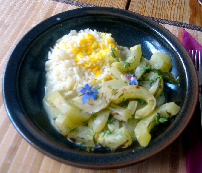 Schmorgurken,Reis,Eierpfannkuchen (15)