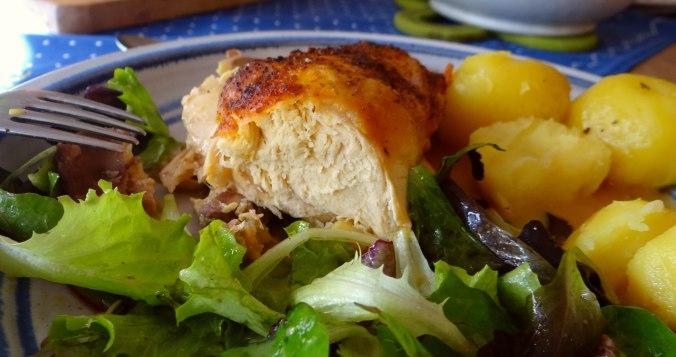 Mais Poularde,Salat,Birne in Rotwein (3)
