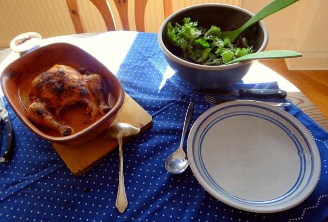 Mais Poularde,Salat,Birne in Rotwein (4)