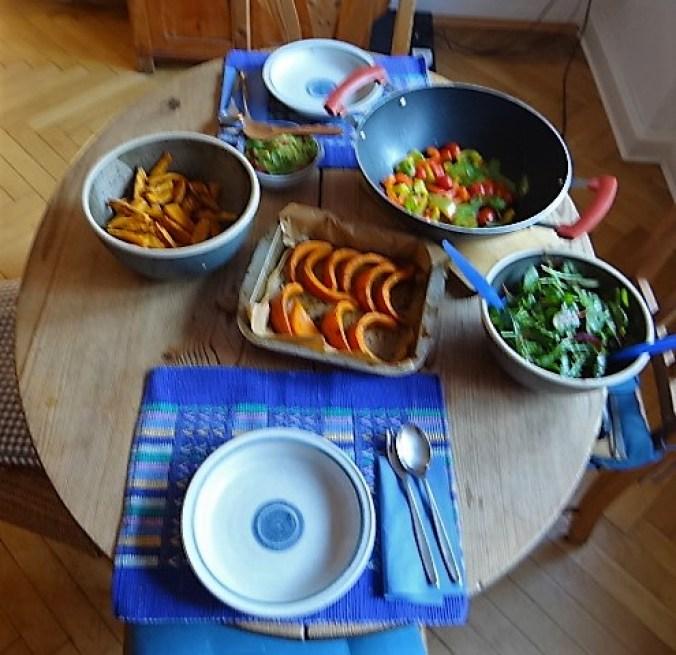 Süßkartoffeln,Kürbis,Guacamole (1)