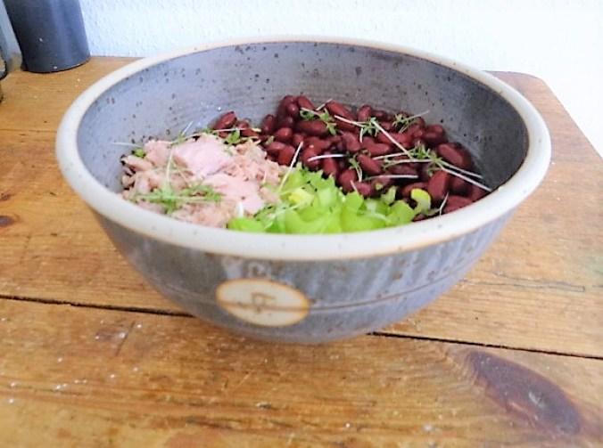 Bohnen Thunfisch Salat mit Rucola Pesto und Ei (13)