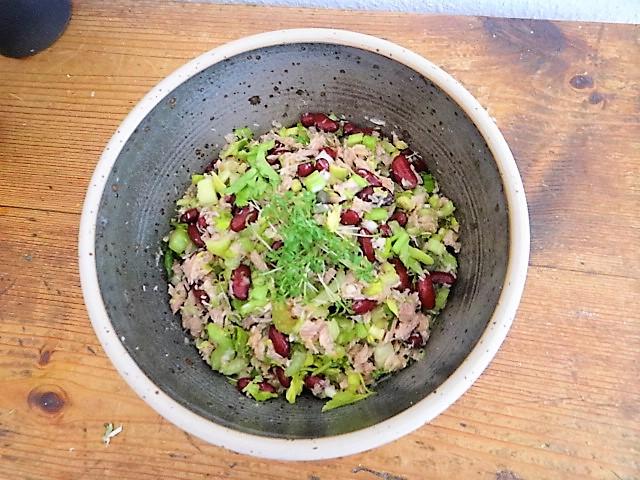 Bohnen Thunfisch Salat mit Rucola Pesto und Ei (14)