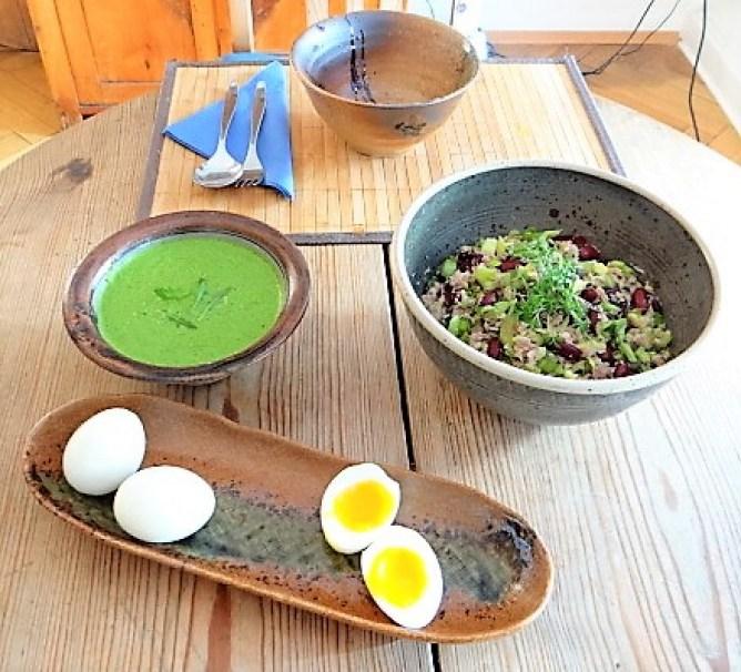 Bohnen Thunfisch Salat mit Rucola Pesto und Ei (3)