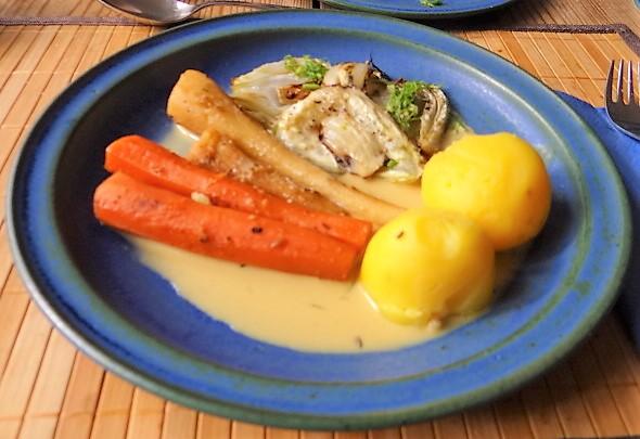 Ingwer Möhre,Pastinaken,gegrillter Fenchel,Orangensauce (15)