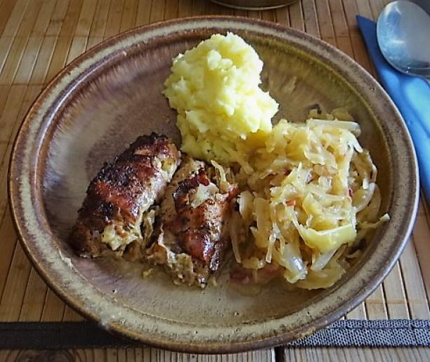 Schweinebauch Roulade mit Sauerkraut und Kartoffelstampf (19)