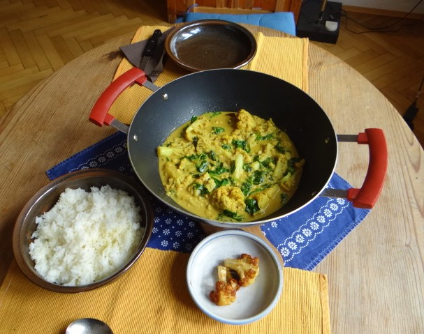 Blumenkohl Curry mit Blattspinat,Jasminreis (19)
