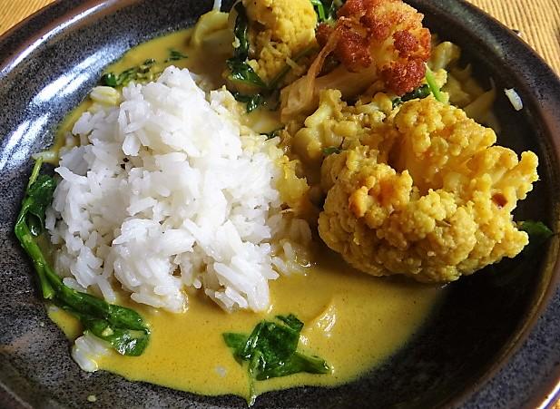 Blumenkohl Curry mit Blattspinat,Jasminreis (21)