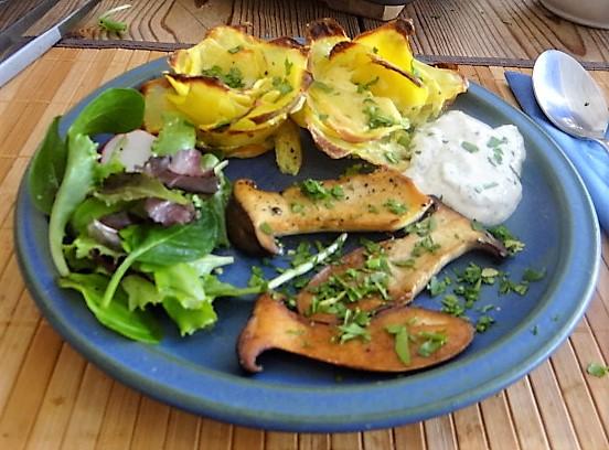 Kräutersaitlinge,  Kartoffelrosen, Salat