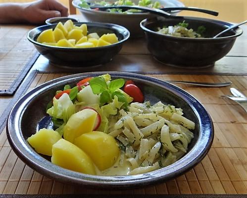 Kohlrabi Gemüse,Kartoffeln,Salat (1b)