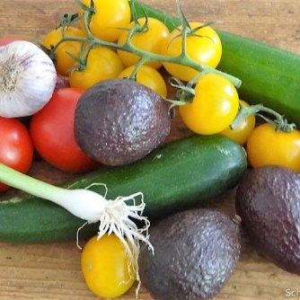 Zucchinisalat,Tomatensalat,Guacamole und Ofenkartoffeln (7)