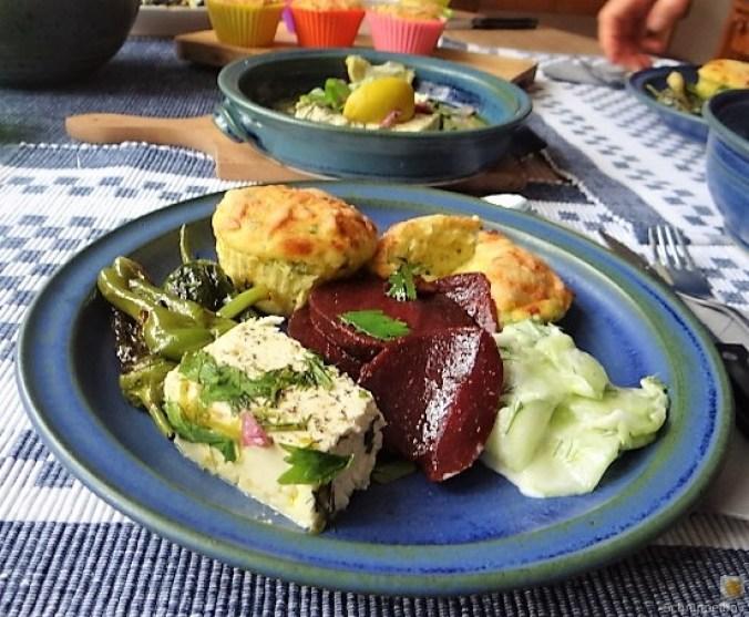 Kleine Kartoffelaufläufe,Rote Beete,Gurke,Pimientos,Feta (3)