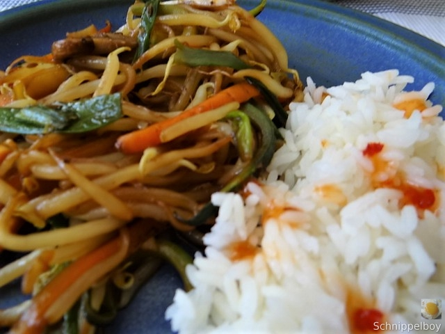 Mungbohnenkeimlinge mit Gemüse,Reis (3)