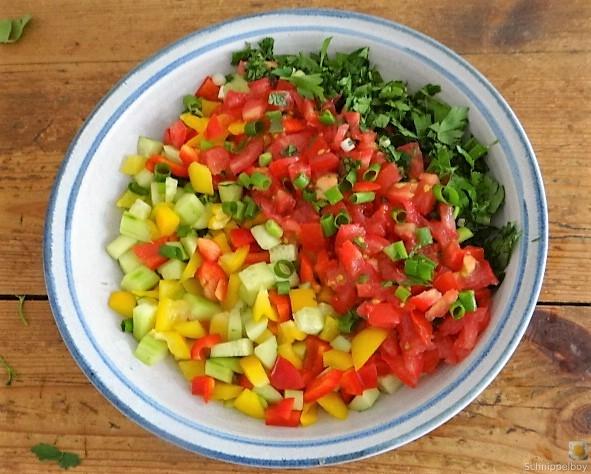 Salat(orientalisch), kleine Kartoffeln, Matjesfilet (7)