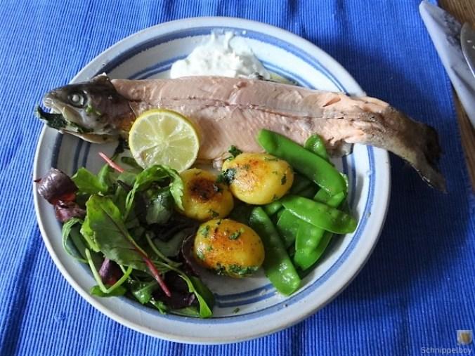 Forelle mit Petersilienkartoffel, Meerrettichdip und Salat (2)