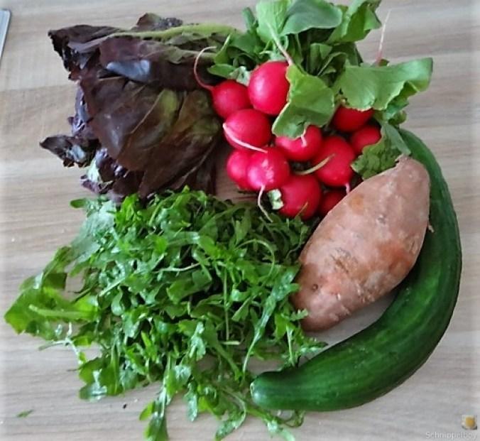 Süßkartoffel und Zucchini aus dem Ofen mit Salaten (7)