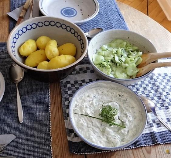 Quark,Kartoffeln, Gurkensalat (4)