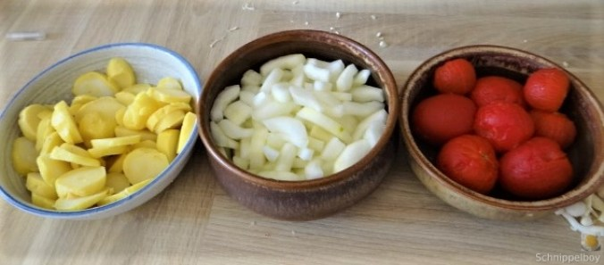 Schmorgurke, Tomatenragout, Meeresfrüchte (18)