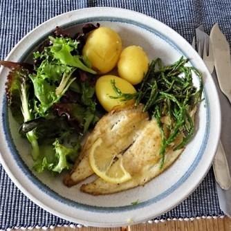 Scholle, Pflücksalat, Queller und Apfelkompott (14)