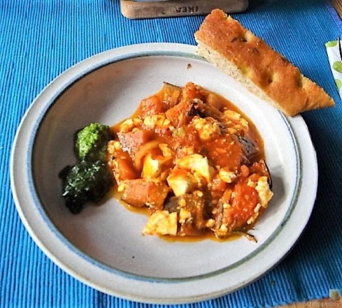 Auberginen-Tomaten Gemüse, Foccacia (2)