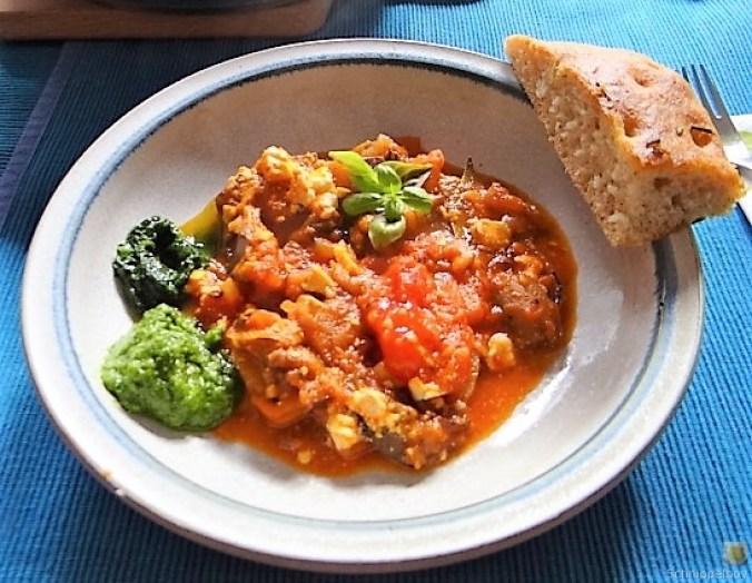 Auberginen-Tomaten Gemüse, Foccacia (28)