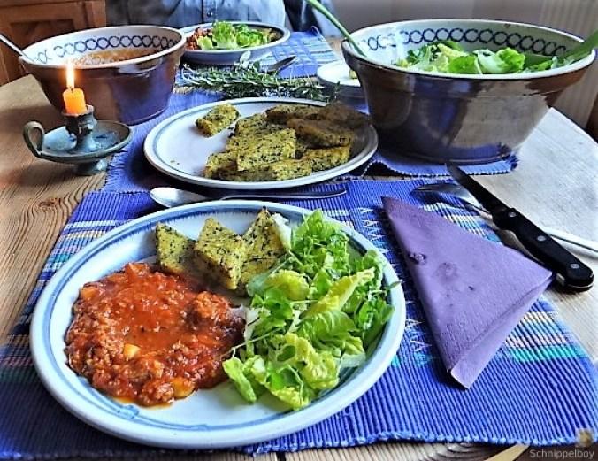 Brennessel Polenta mit Bolognese (3)